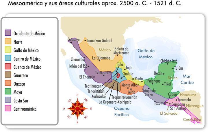 Puedes revisar este mapa Mesoamérica y sus áreas culturales