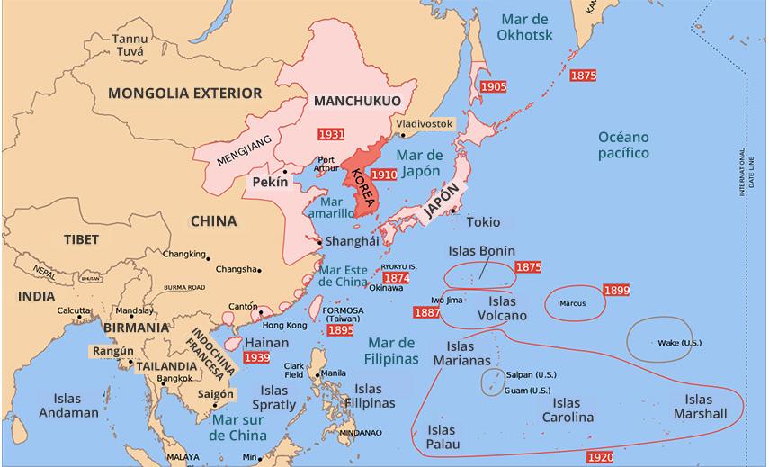 Territorios conquistados por Japón