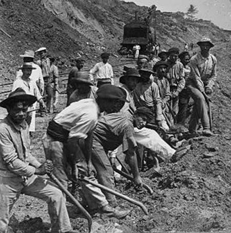 Construcción del ferrocarril de Panamá