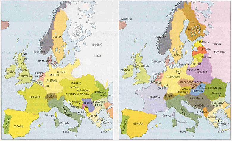 mapa de europa antes y después de la guerra